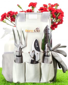 Barn Owl Stainless Steel Garden Tools 9 Piece Gardening Tools I Gardening Kit I Tool Sets with Heavy Duty Shear Non Slip Handle and Storage Tote Bag – Garden Gifts for Gardeners Men and Women
